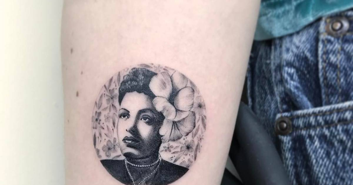 Instagram Tattoo Filter: Billie Holiday Tattoo On The Right Inner Forearm