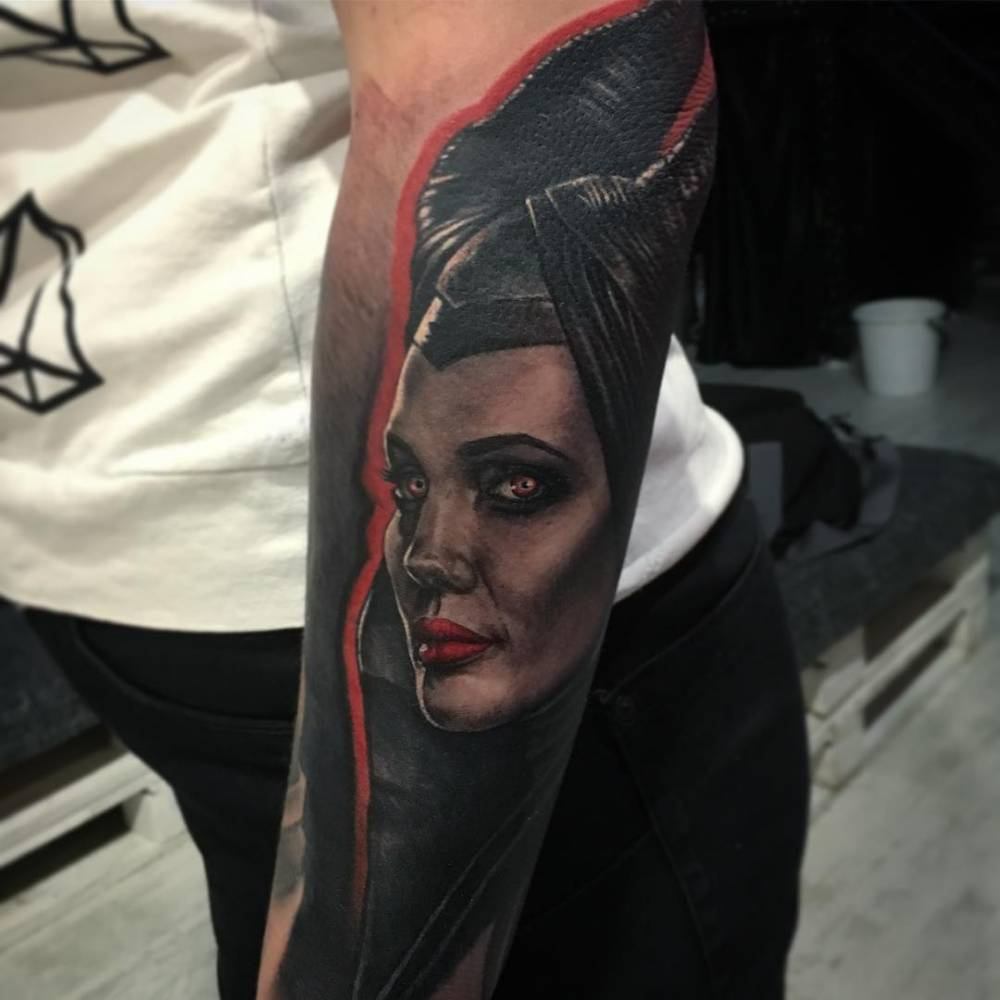 Portrait Of Maleficent Tattoo On The Left Forearm