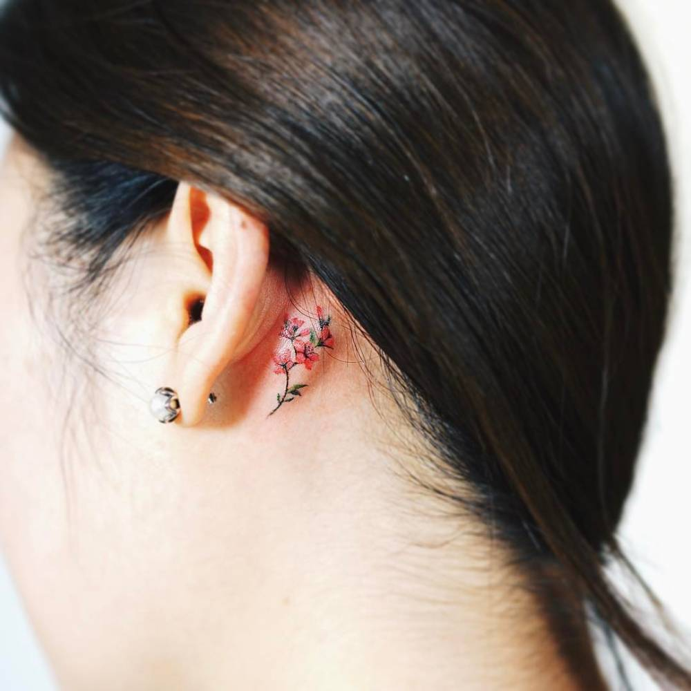 37 Ear Tattoos See Which Made Our 1: Beautiful Floral Tattoos Behind The Ear