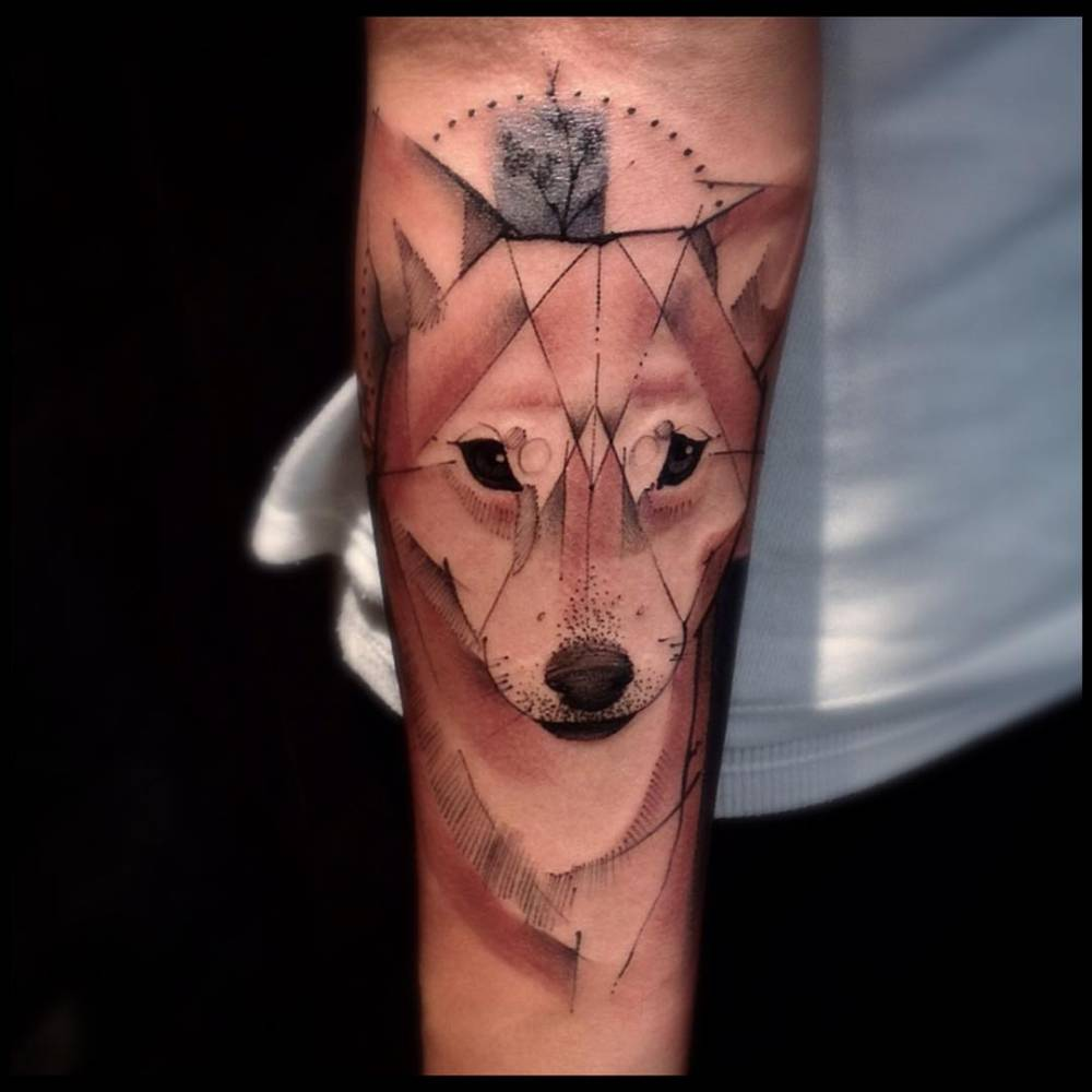 sketch work style shiba inu tattoo on the forearm