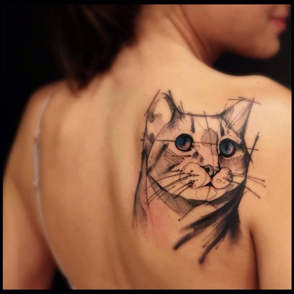Sketch Work Style Cat Tattoo