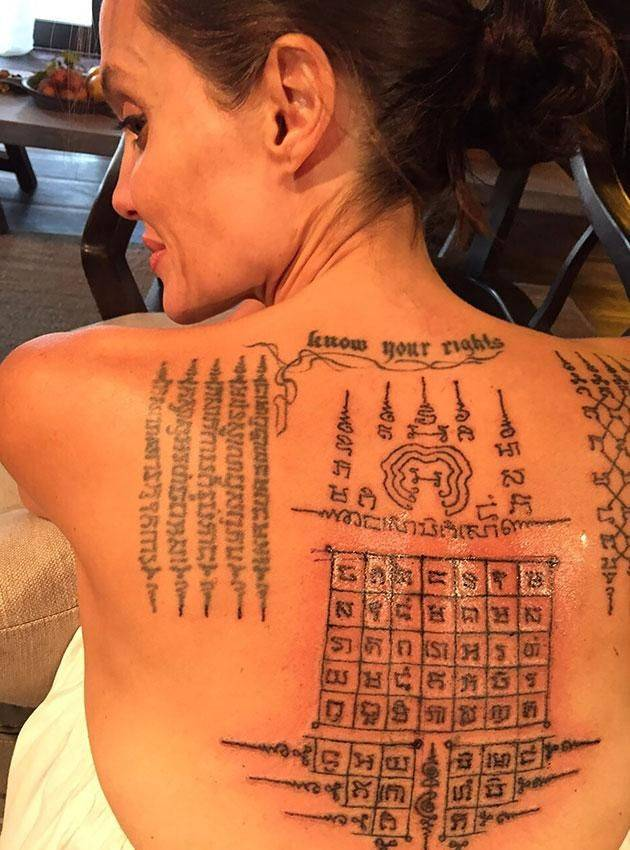 In February 2016, Angelina Jolie met with Ajan Noo for several more Yantra tattoos and incantations. Angelina Jolie received 3 new tattoos on her back. Angelina Jolie's spirituality is reflected through her Yantra tattoos, a pride shared by both master an