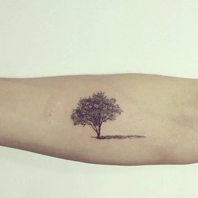 Small Jacaranda Tattoo: Forearm Tattoo Of A Tree