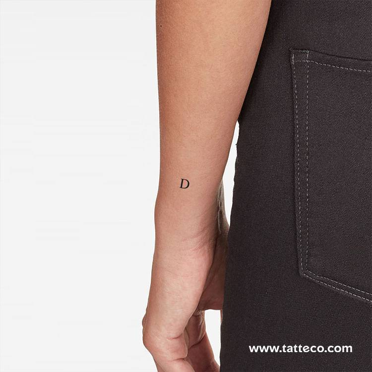 Serif capital D letter temporary tattoo, get it here ►