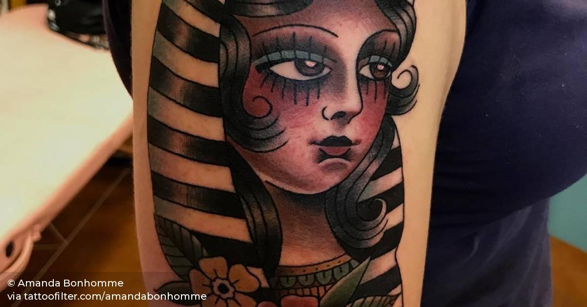 Traditional Style Cleopatra Head Tattoo On The Right