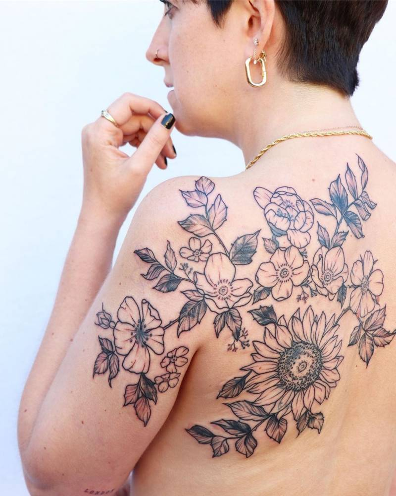 Large floral tattoo