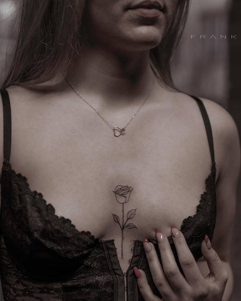 Fine Line Rose Tattoo