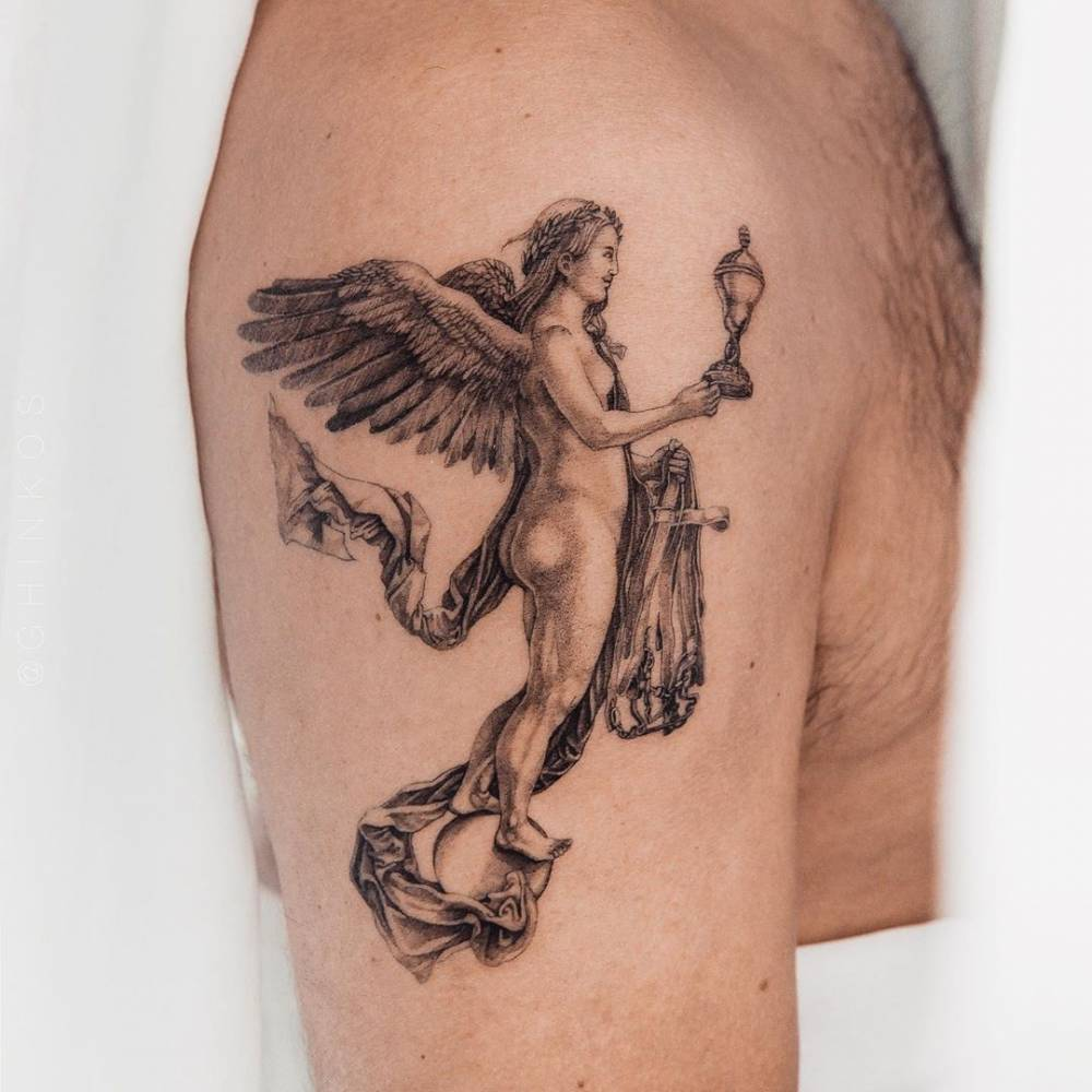 Nemesis was the Greek goddess of divine retribution, and Albrecht Dürer combined her identity here with Fortuna, the Roman goddess of victory or fortune, displayed as a winged figure on Roman coins. The implied movement of Nemesis' drapery and the clouds