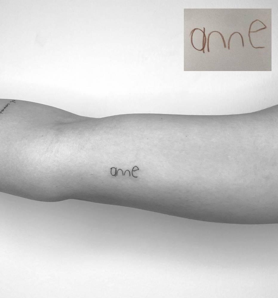Anne (mom in Turkish) child's handwriting.