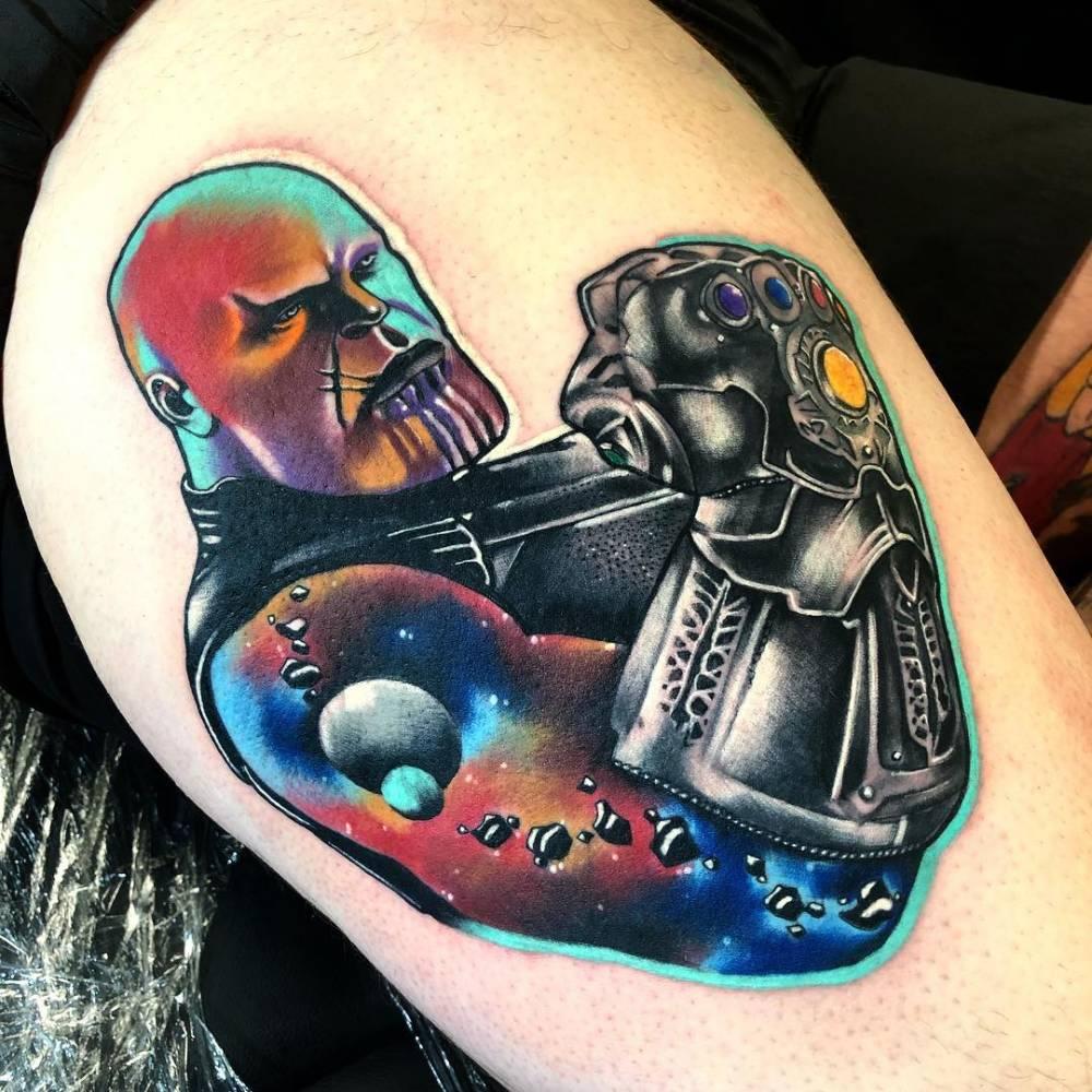 Pop Art Thanos Tattoo on Thigh