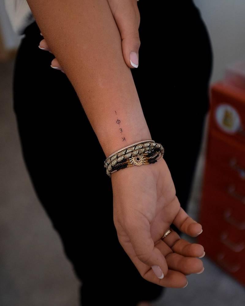 Greek letters tattooed on wrist