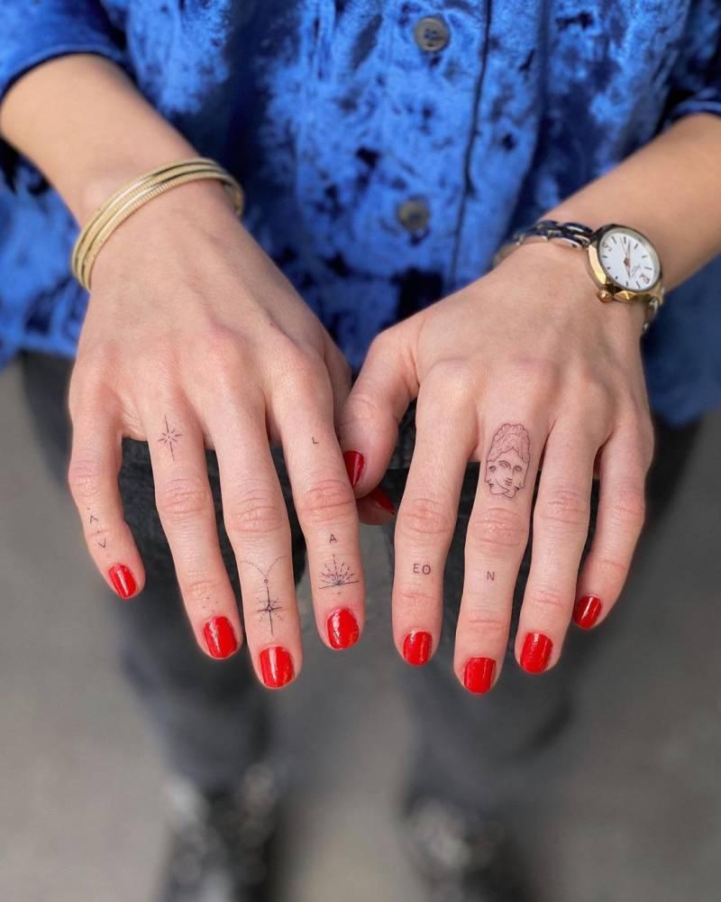 Ornamental finger tattoos LEO | AEON + faces