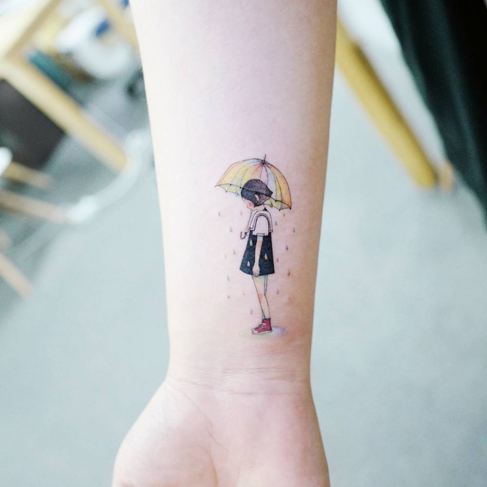 Rainy Tattoos Art: Child Under The Rainy Umbrella Tattoo On The Inner