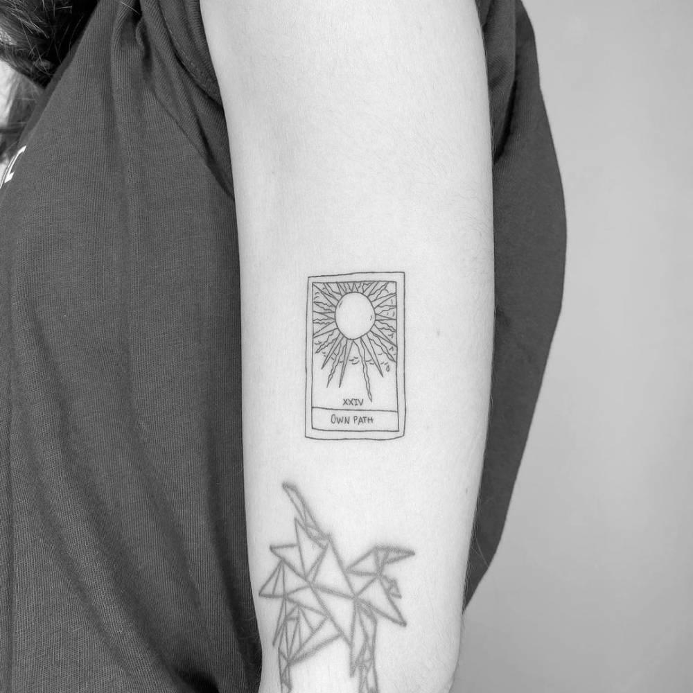 Fine Line The Sun Tarot Card Tattoo