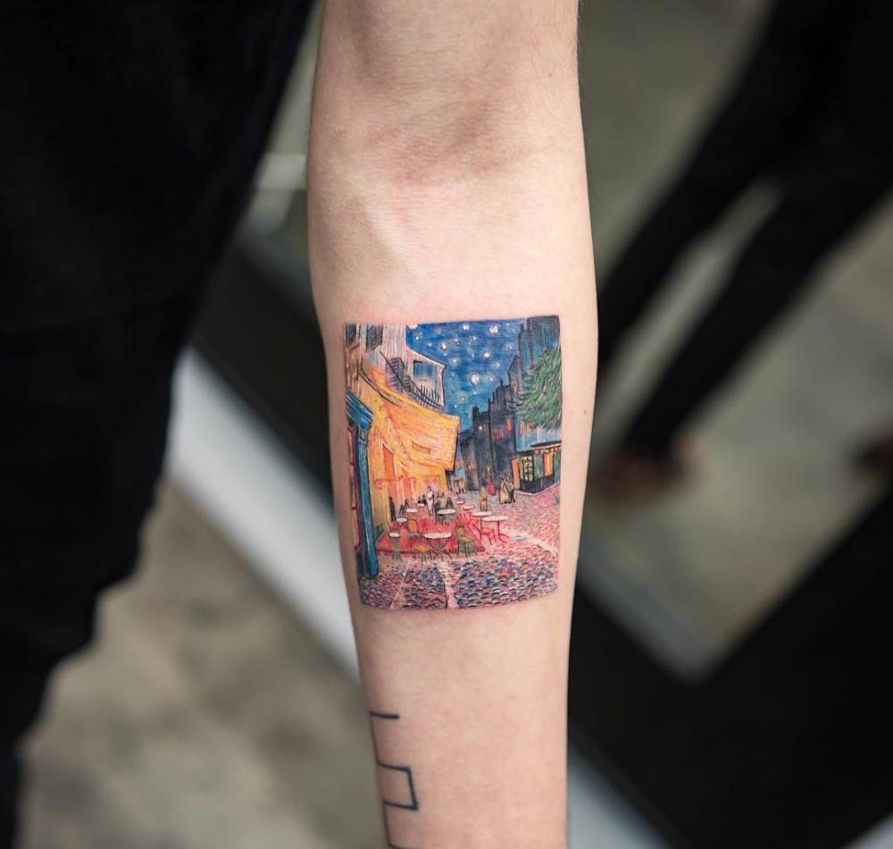 Café Terrace at Night tattoo, inspired by Vincent van Gogh's painting (1888).
