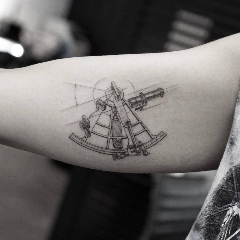 single needle sextant tattoo on the right inner arm. Black Bedroom Furniture Sets. Home Design Ideas