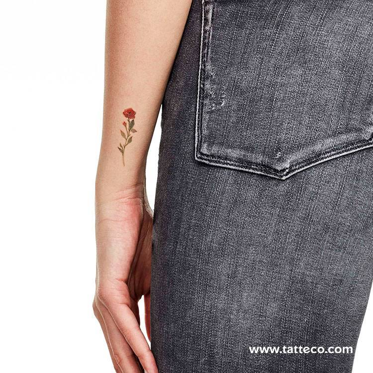 Red rose temporary tattoo by Lena Fedchenko, get it here ►