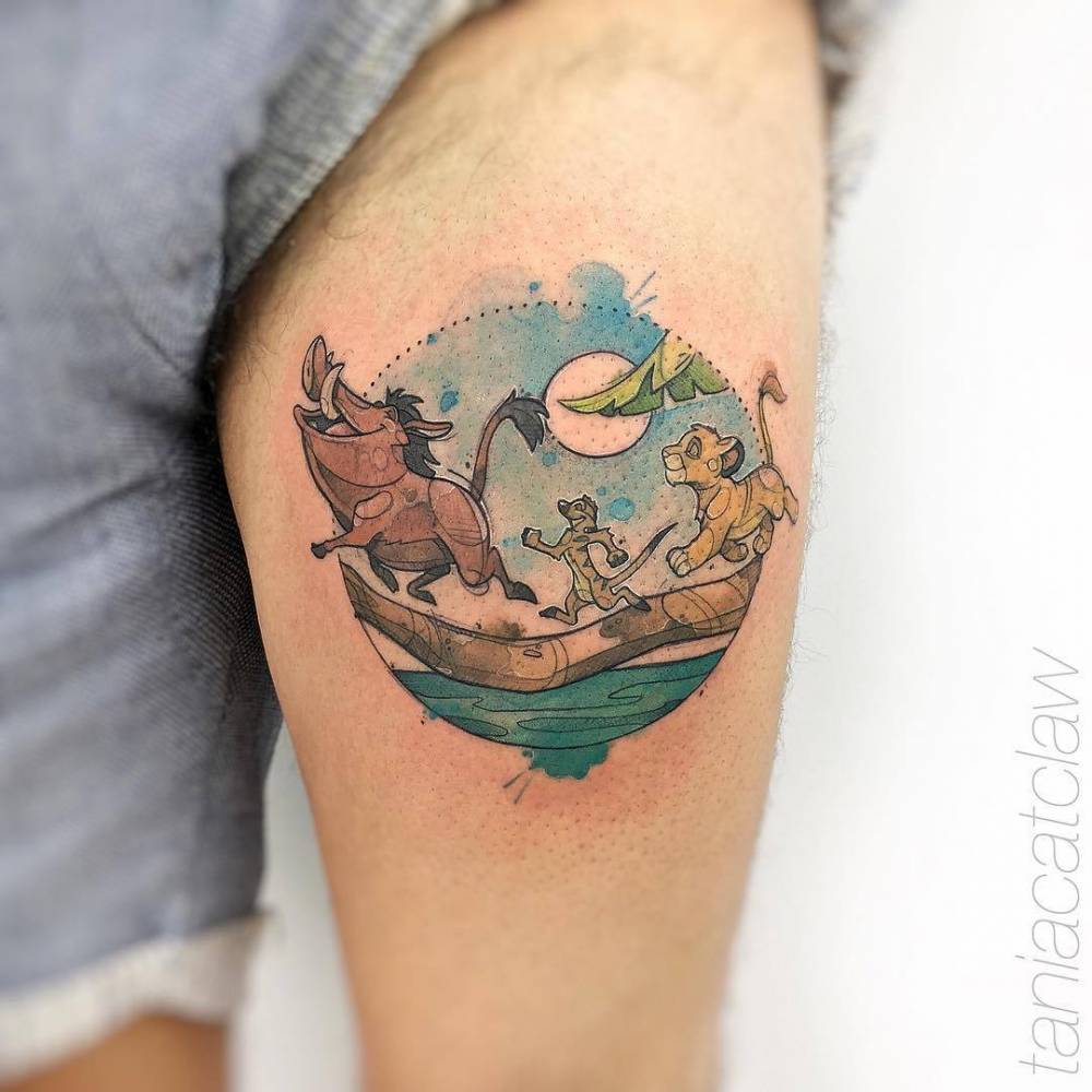 The Lion King Inspired Tattoo On The Left Thigh