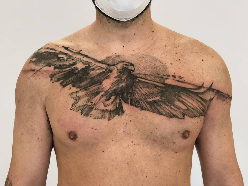 Sketch work eagle tattoo on the chest