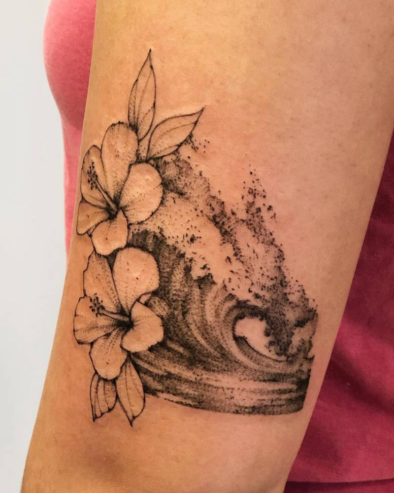 Sketch work wave and hibiscus flower tattoo.