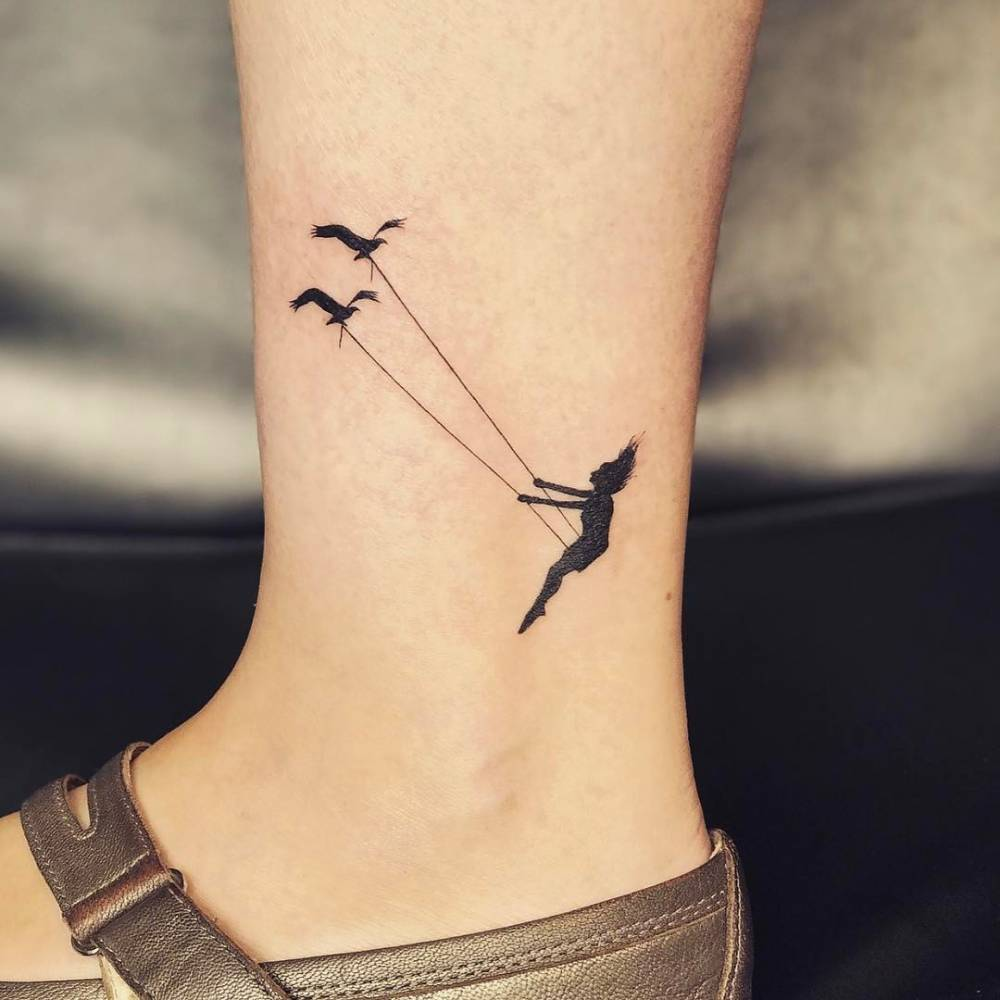 Swing Tattoo: Bird Swing Tattoo On The Ankle