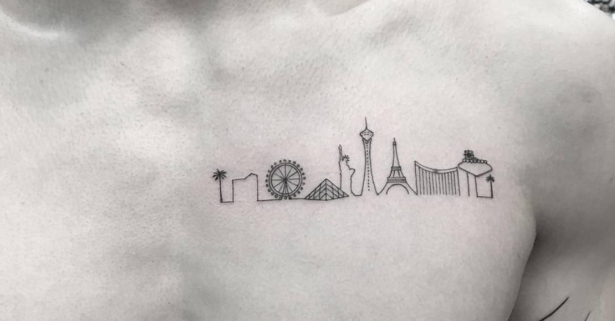 Las vegas skyline tattoo on the chest for Las vegas skyline tattoo