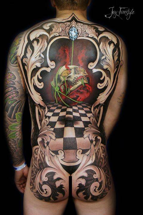 """""""Our perceptions are fallible.""""  Still shot of the finished collaboration back-piece I've done with Ryan """"The Scientist"""" Smith - International Artist and that won us """"Best of Show"""" at Tatlantis (Bahamas). What do you think ab"""