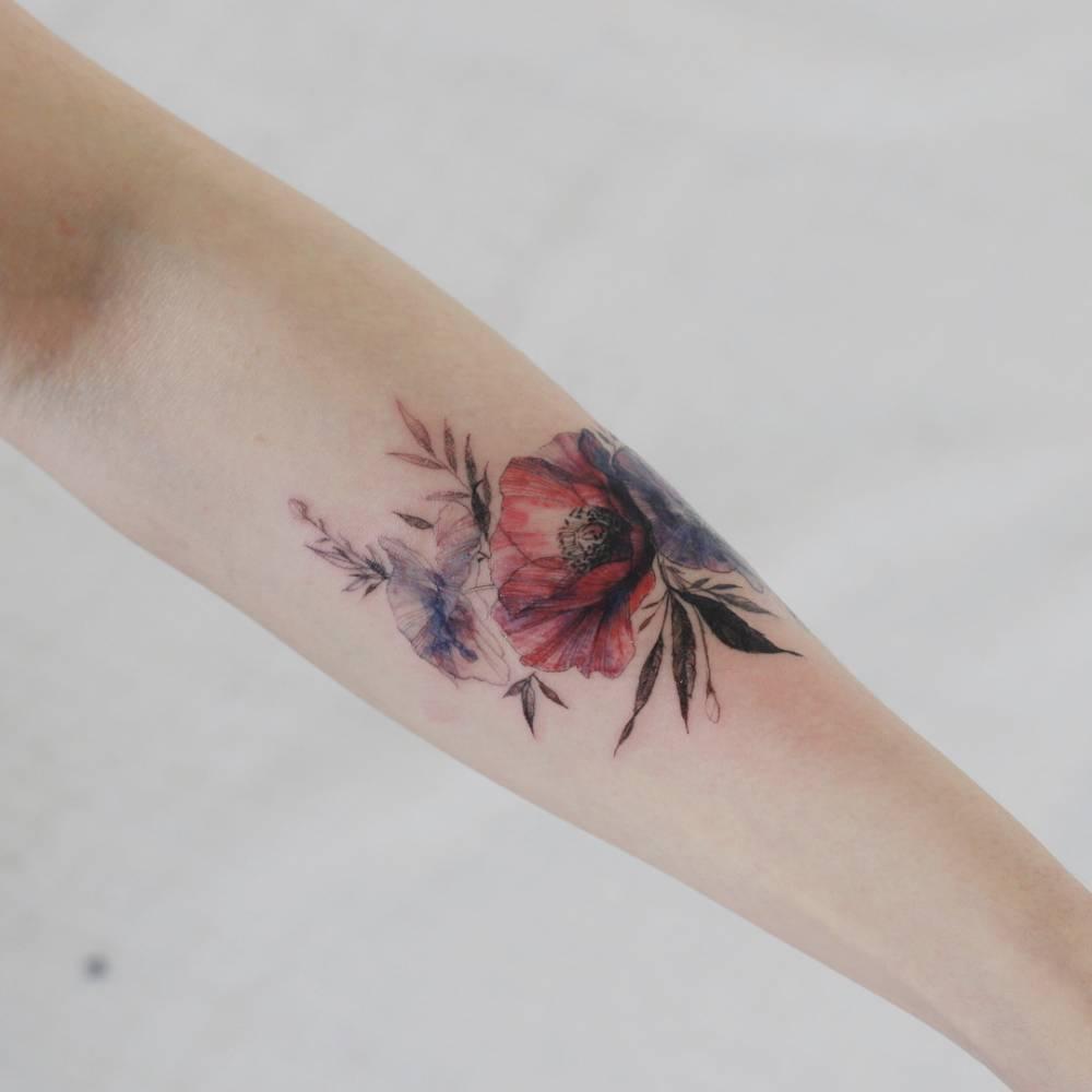 Scar cover up  Poppy flower