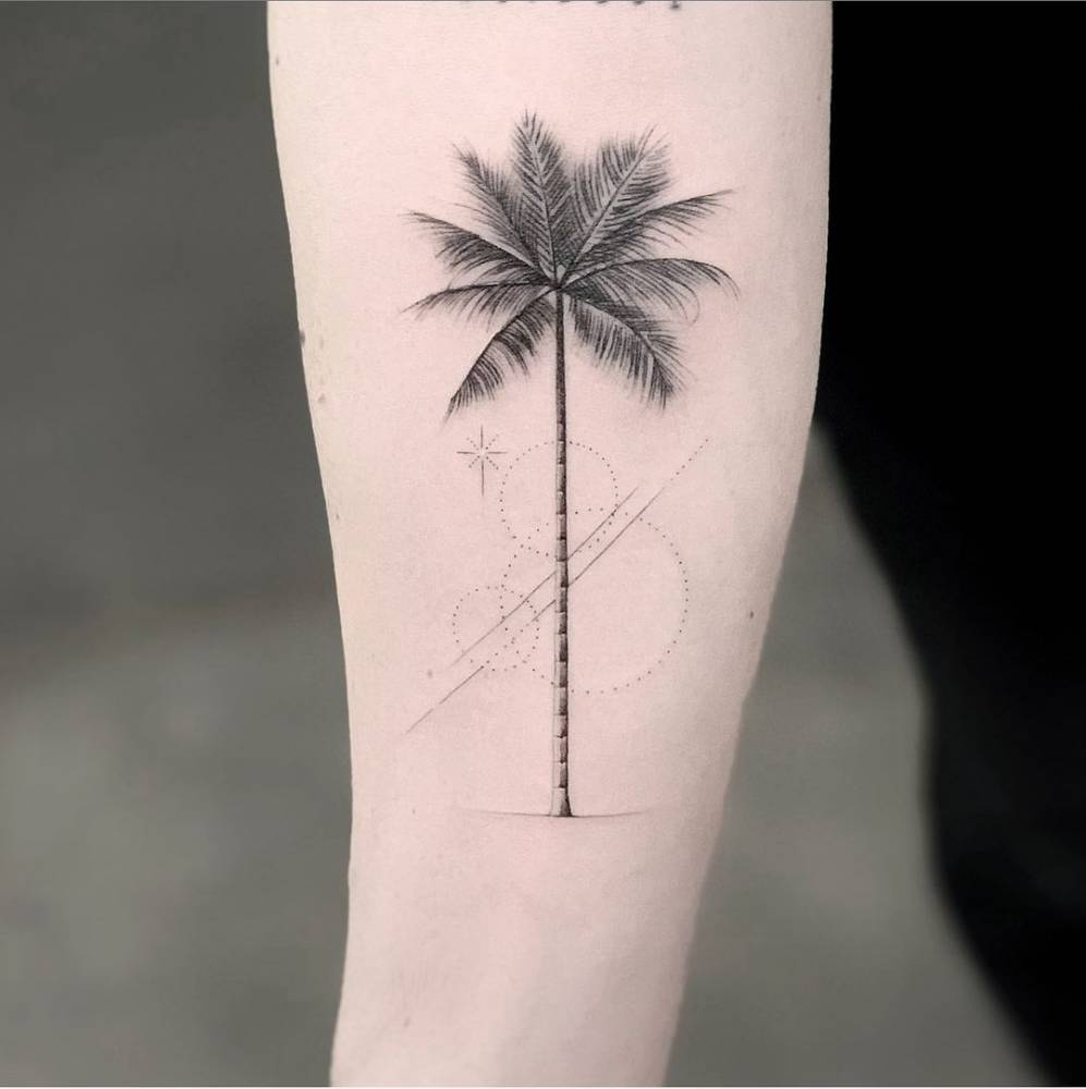 Micro-realistic palm tree tattoo on the inner forearm.