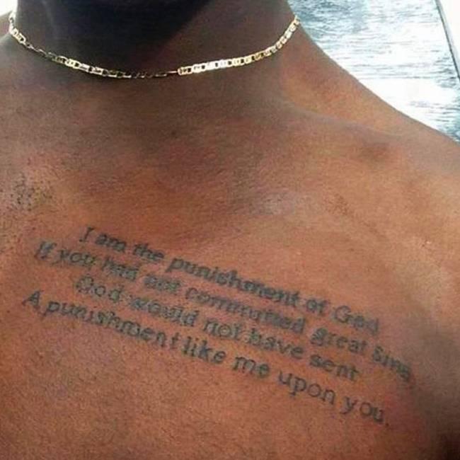 Tatuaje En El Pecho Que Dice I Am The Punishment Of