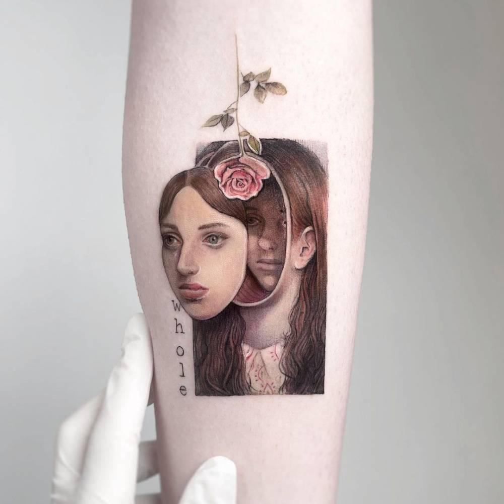 Miles Johnston's artwork tattoo on the inner fooearm.