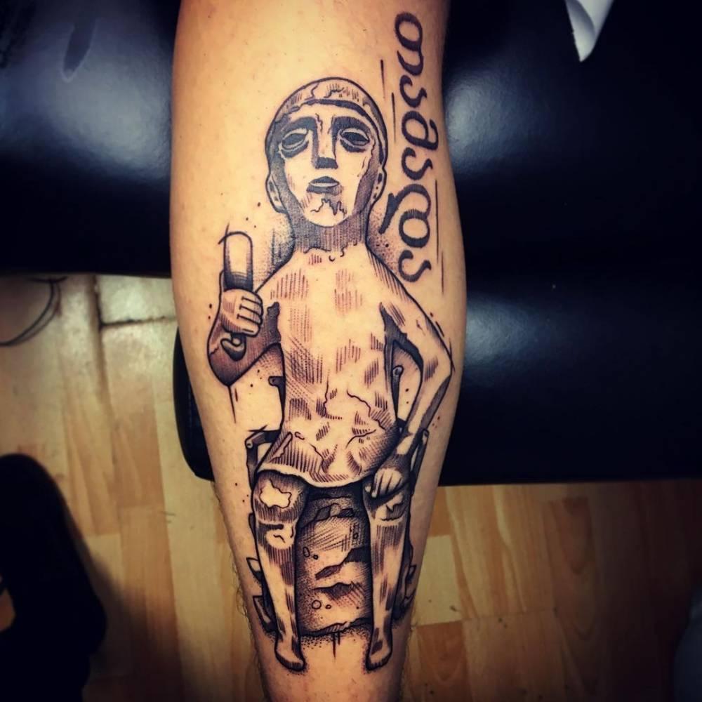 Sketch work Tamada tattoo on the calf.