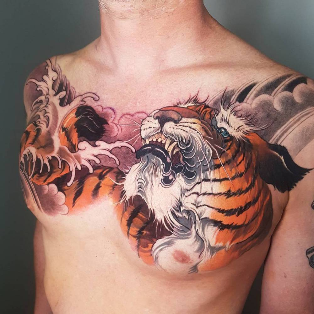 Neo Japanese Tiger Tattoo On The Chest
