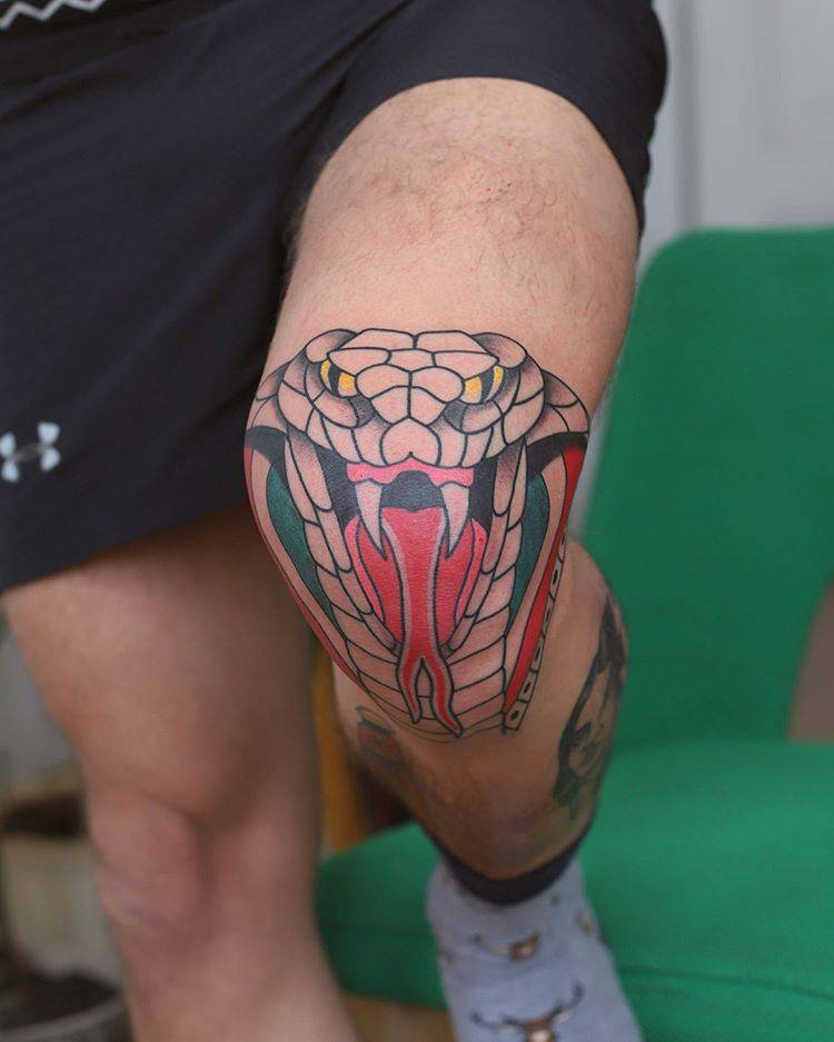 Cobra Tattoo On The Knee
