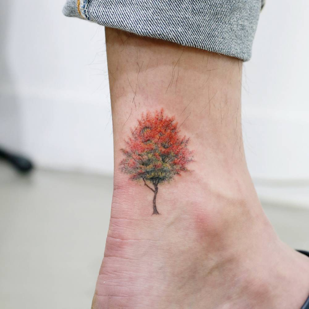 Maple tree tattoo on the ankle.