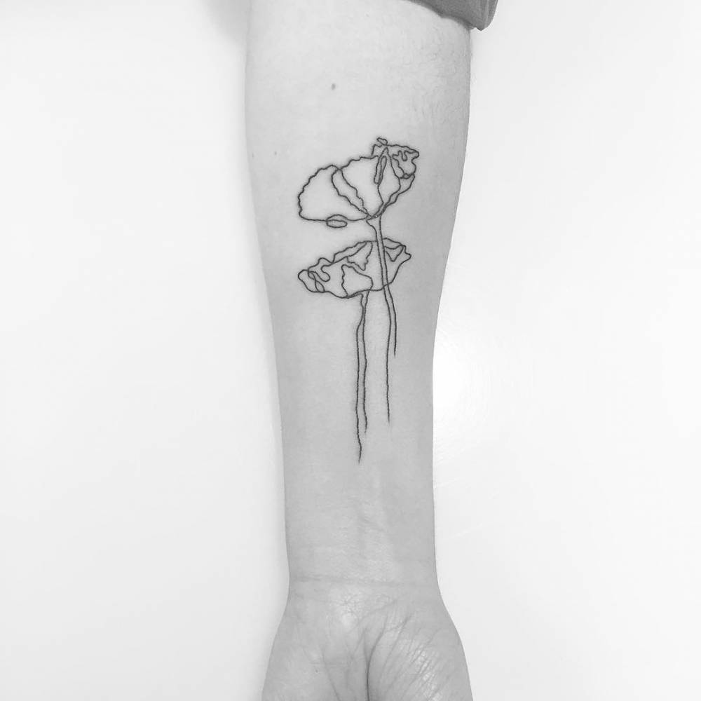 Black Line Drawing Tattoo : Continuous line poppy tattoo on the forearm