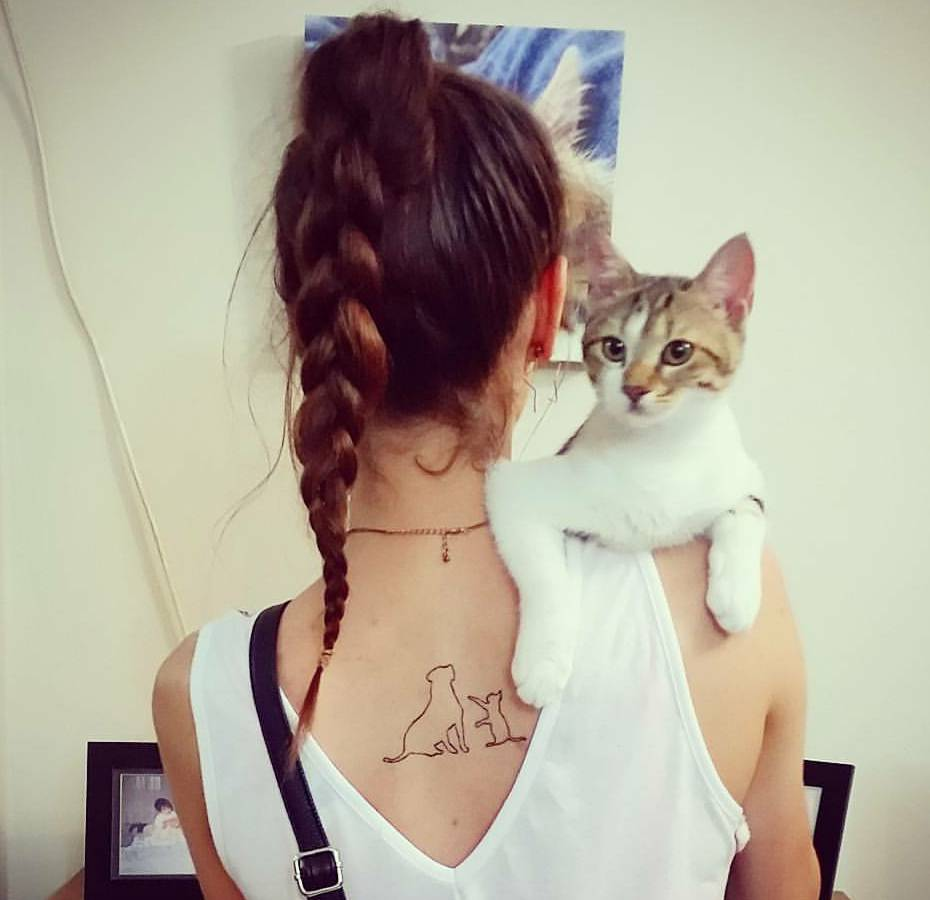 Cat And Dog Outline Tattoo On The Upper Back
