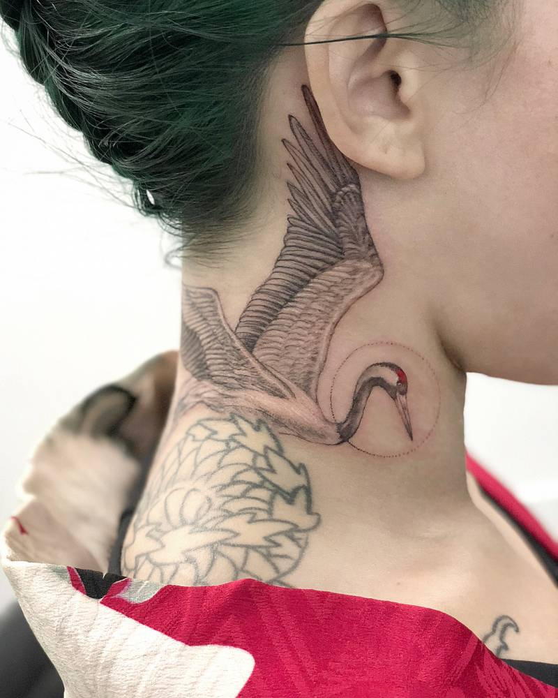 Red Crowned Crane Tattoo On The Right Side Of The Neck
