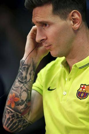 Imagen del interior del antebrazo derecho del tatuaje que Messi tiene en el brazo derecho, obra de Roberto López.