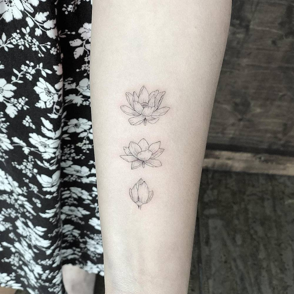 Blooming Lotus Flower Tattoo On The Left Inner Forearm