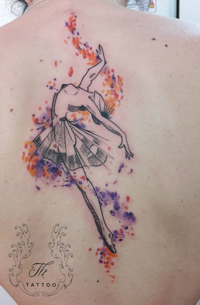 Balerina tattoo on a beautiful dancer