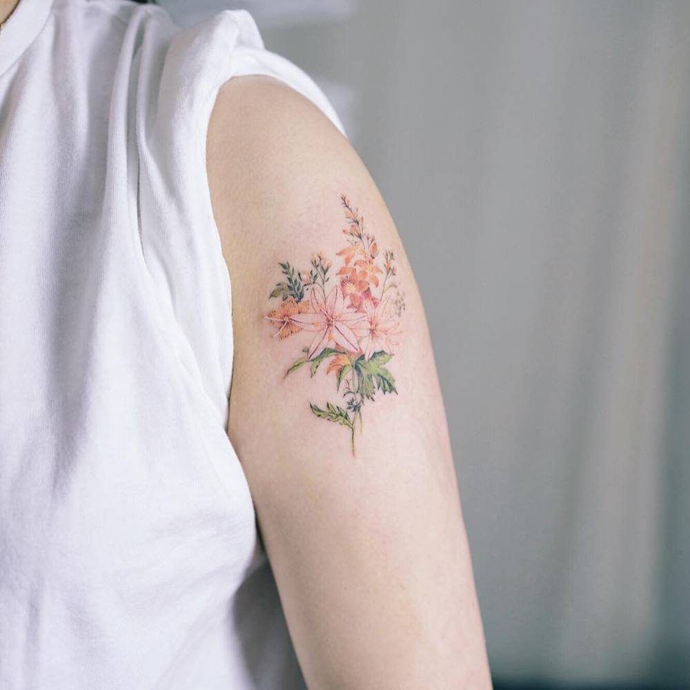 Illustrative Style Flower Tattoo On The Left Upper Arm