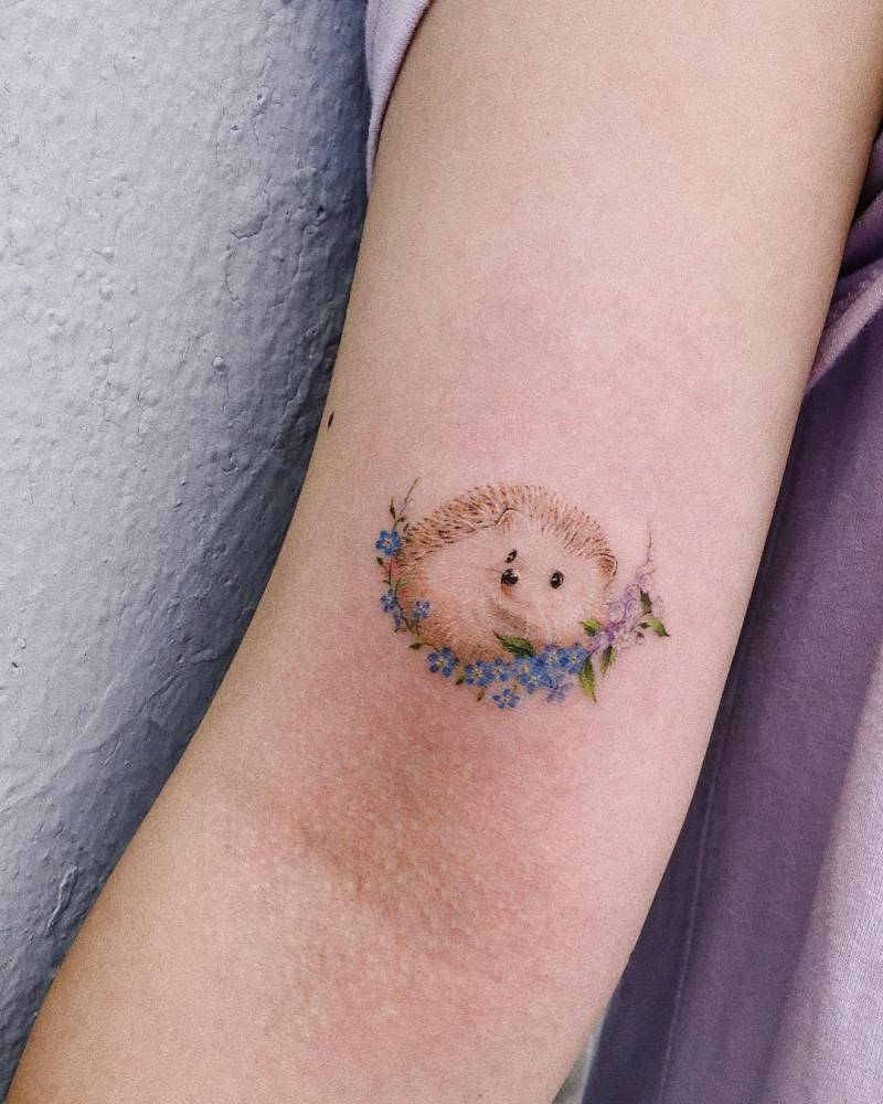 Hedgehog tattoo on the right bicep.