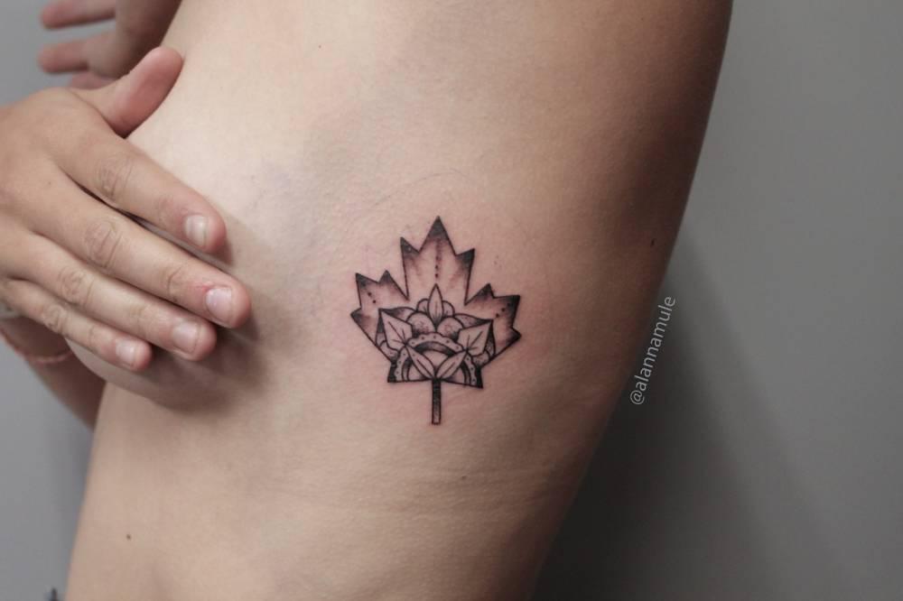 Side Tattoo Tattoo Of A Maple Leaf By Alanna Mulé