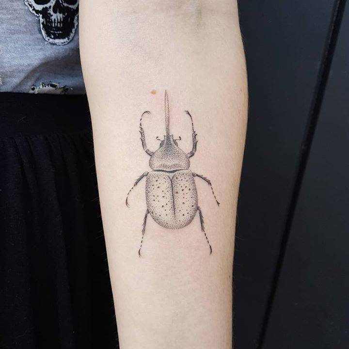 Loved doing this Hercules beetle today at Cornwall Tattoo Convention. Thank you kira!