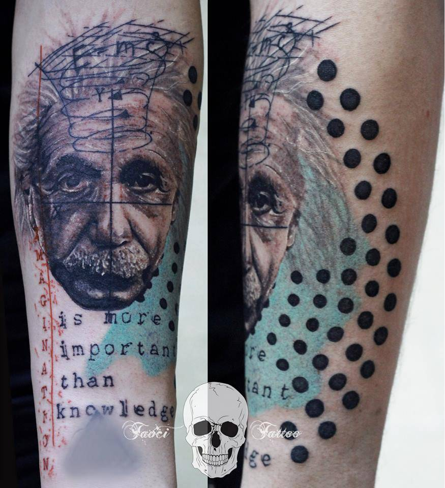 albert einstein inspired graphic style tattoo on the. Black Bedroom Furniture Sets. Home Design Ideas