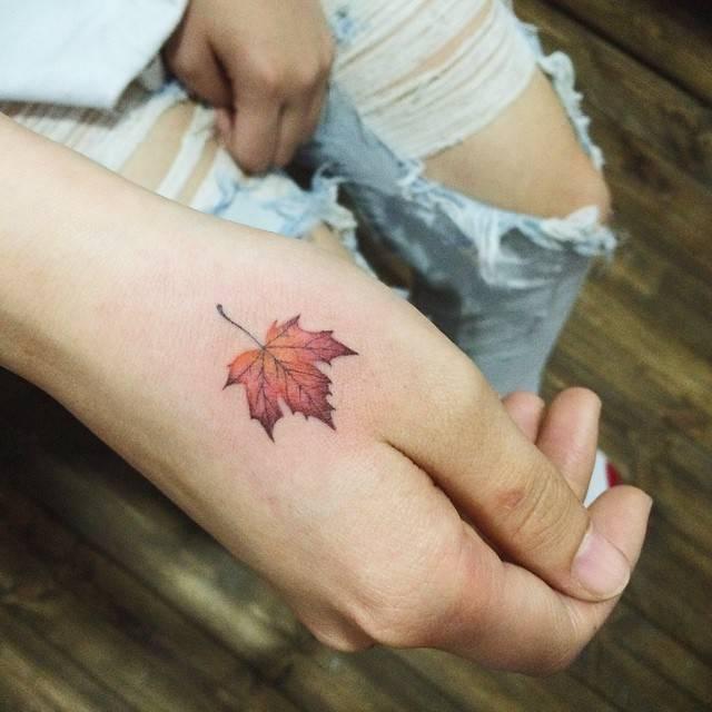 Platanus Leaf Tattoo On The Right Hand