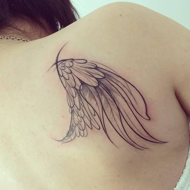 Wing Tattoo Shoulder Blades Sketch work sty...