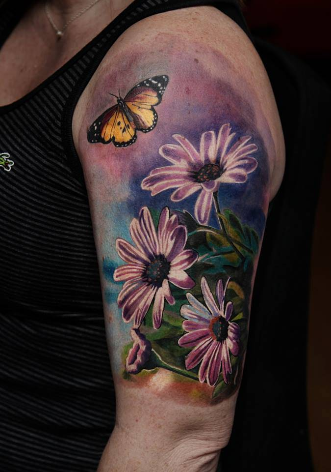 Realistic Daisy Tattoo: Realistic Left Shoulder Tattoo Including Daisy Flowers