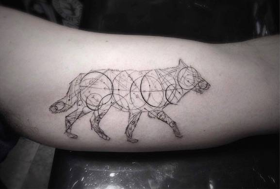 Fine Line Style Geometric Wolf Tattoo On The Left Inner